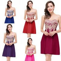 Wholesale Two Colors Summer Dress - 39.9$ 12 Colors Little Black Mini Short Homecoming Dresses Gold Appliques Burgundy Sheer Open Back Cocktail Graduation Prom Dresses Under 50