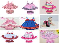 Wholesale Infant S Dresses - New Baby Girl Princess dress outfits cute Flowers infant bowknot Sling+shorts pants 2pcs set Dot ripple Kids Clothing free shipping C943