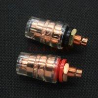 Wholesale Banana Plug Hifi - 2PCS High End EIZZ Brass Speaker Binding Post Amplifier Banana Plug Jack Terminal Short Thread,Red Copper Plated,HIFI AUDIO DIY