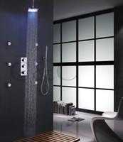 Wholesale Led Shower Body Spray - Thermostatic Bathroom Round Shower Mixer Set 8 Inch Chrome LED Shower Head 6 Pcs Spa Body Massage Spray Jets 007-8RC-3Y