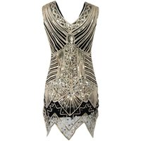 Wholesale Cap Sleeve Glitter - Glitter Woman V Neck 1920s Great Gatsby Dress Retro Art Deco Sequin Flapper Party Mini Black Dress Robe Femme Bodycon Dress