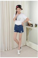 Wholesale Sexy Jeans Skirts - 2016 New Fashion Women Shorts Hole Sexy Casual Shorts High Waist All-match Hot Shorts Blue Denim Jeans Shorts Size S-XL