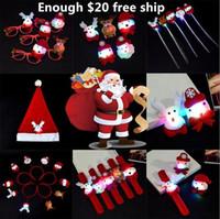 broche de navidad de luz intermitente al por mayor-Alumbrado de Navidad juguete luminoso broche de luz broche juguetes navidad sombrero