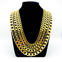 "Wholesale Curb 12mm - 24K YELLOW GOLD FILLED MEN'S NECKLACE BRACELET 24""Solid CURB CHAINS GF JEWELRY WIDE 8MM 10MM 12MM"