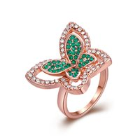 Band Ring Rose Gold Plated White Cubic Zircon Cristal Peridot Handmade Gemstone Fashion Jewelry Tamanho de transporte livre 8 GPR308