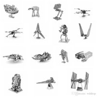 Wholesale 15 Styles Star Wars D Metal Building Block Set DIY Millennium Falcon ATST X Wing Fighter TIE Fighter ATAT Vader Destroyer Puzzles