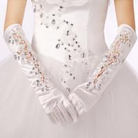 Wholesale Elbow Length Winter Gloves - Long winter wedding the bride wedding gloves performance studio new bud silk satin diamond wedding accessories