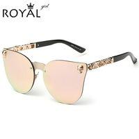 Wholesale Flower Sunglasses - 2016 Vintage Women Cat Eye Sunglasses Metal Frame Star carving Flower Sunglasses Mirror Glasses oculos de sol feminino ss147