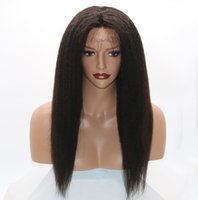 Wholesale Yaki Remy Hair Full Lace - Kinky Straight 360 Lace Frontal Wigs 130% Density Full Lace Human Hair Wigs For Black Women Brazilian Hair Italian Yaki Lace Front Wigs