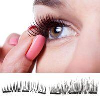 Wholesale Synthetic Hair Strip Extensions - Triple Magnetic Eye Lashes 3D Mink Reusable False Magnet Eyelashes Extension 3d eyelash extensions magnetic eyelashes makeup X073