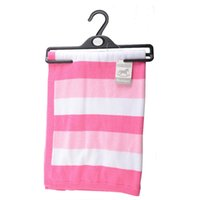 Wholesale pink blue girls bedding online - Baby Kids Blanket Swaddles New Style Annual Baby Boys Girls Print Striped Cotton Knit Blanket Nursery Bedding