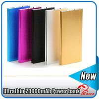 Wholesale External Backup Battery S4 - 20000mah Portable Slim Ultra Thin External Battery Emergency Backup Charge Chargers Dual USB with flashlight for iPhone 5 6 plus S4 S5 Note3