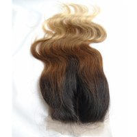 Wholesale ombre silk base closure - 3 Tone Ombre Silk Base Closure Body Wave Brazilian Virgin Human Hair T1b 4 27 Free Middle 3 Way Part Hidden Knots