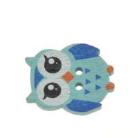 baykuş şeklindeki düğmeler toptan satış-100 Adet KARıŞıK Renkler Güzel Baykuş Şekil Iki Delik Ahşap Düğmeler 21.5mm x17.6mm Diy M62563 Için