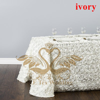 Wholesale Ivory Satin Table Cloths - Ivory Color Satin Rosette Rectangular Table CLoth For Wedding Free Shipping