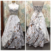 Wholesale Back Up Online - Custom Online Sweetheart Satin Camo Wedding Dress Lace Overlay Snowfall Camouflage Formal Lace Up Back Bridal Gowns Crystal Waistline