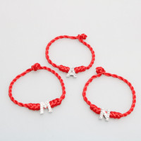 Wholesale Crystal Letters Wholesale China - lucky red bracelet woven bracelet with crystal english letter China style lucky red rope gift sales promotion giveaway present