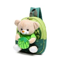 Barato Bonito Livro De Escola-2017 New Cute Kids School Bags Cartoon Bear Dolls Applique Canvas Backpack Mini Baby Toddler Book Bag Mochilas para jardim de infância 656