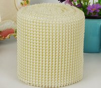 Wholesale Wholesale Pearl Centerpieces - 10yard 24row Half Round Pearl Beads Bendable Mesh Wrap Roll Chain Trim For Sewing Apperal Bag Shoes Cap Decoration