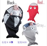 Wholesale Cute Infant Baby Bags - 2016 New Baby Shark Sleeping Bag Newborns Sleeping Bags Winter Strollers Bed Swaddle Blanket Wrap Cute Bedding Infant Sleeping Bag 3 Colors