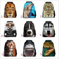 Wholesale Soft Dog Backpacks - 3d print Dolphins sharks dog dinosaur printing school bag kids adults men reduce bag 42x29x18cm