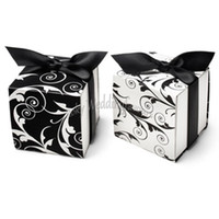"""Wholesale Holiday Candy Boxes - FREE SHIPPING 50PCS 2"""" Two Sides Filigree Favor Boxes with BLACK Ribbon Wedding Favors Boxes Party Paper Boxes Wedding Favors Package"""
