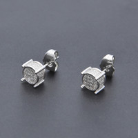 Wholesale Diamonds Round Earrings - Hip Hop Iced Out Silver 3d Round Side CZ Simulated Lab Diamond Screw Back Stud Earring