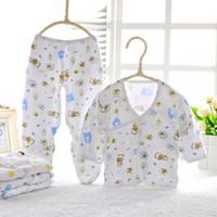 Wholesale Soft V Neck - Wholesale cotton newborn baby clothes set infant girls boys soft clothing 2 pieces set 0-3 Months 2 styles
