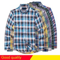 Wholesale Oxford Shirts Clothing - HOT 2017 Autumn winter plaid lapel men's long sleeved Shirt Men USA Brand POLO Shirts Fashion 100% Oxford Casual Shirt Small Horse Clothes