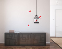 Wholesale Removable Wall Stickers Bird Cage - DIY Vinyl Wall Sticker Bird Cage and Birds Living Room Home decor Removable Art Wall Decal