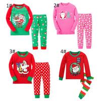 Wholesale christmas nightwear children - Children christmas children christmas sleepwear tops+pants pajamas 2017 christmas children nightwear clothing Sets 6 s l