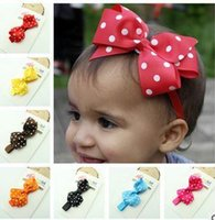 Wholesale Stretch Bows - Korean children hair accessories wholesale bow wave point stretch the lead with a handmade baby hair