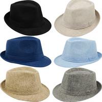 Wholesale Wholesale Sun Screen - Wholesale- Men's Women's Summer Beach Hat Sun Screen Linen Fedoras Outdoor Travel Hats New Arrival