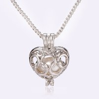 Silver-Tone Olympic Five Loops Design Love Heart Pearl Cage Pendant Necklace Colar oco Locket Pendant Clavicle Chain Necklace