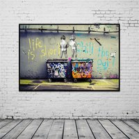 Wholesale Cheap Wall Art Decor - 1 Pcs Modern Banksy Art Life Is Short Chill The Duck Out Wall Art Cheap Kids With Dustbin Painting Prints on Canvas Home Decor