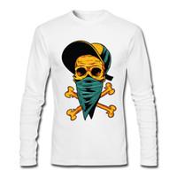 Wholesale Skull Print Hat - Gangsta yellow Masked Skull wear hat Fashion men's long sleeve tee shirt high quality cotton crew neck cartoon printed sweatshirt slim T-shi