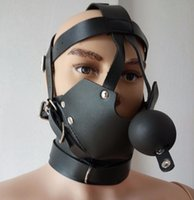 Wholesale male slave ball - Kinky Fetish Bondage Hippie Style Head Harness Muzzle Gag Male Slave Role Play Toy Costume Leather Restraint Mask Sex Products