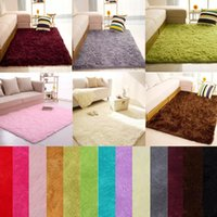 Wholesale pink area - soft fluffy rugs Anti-skid shaggy Area Rug Dining Room Bedroom Carpet