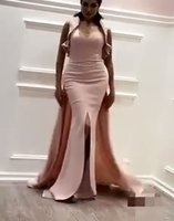 Wholesale Matte Sequins - 2017 Pink Split Prom Dresses Sheath Sweetheart Matte Crepe Evening Gowns with Fixed Blingbling Sequined Fabric Wrap And Sweep Train