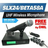 Wholesale Slx Wireless - Microfono by DHL FEDEX to US EUR! Professional UHF Wireless Microphone SLX24 BETA58 SLX Cordless 58A Handheld Karaoke System Free Microfoon