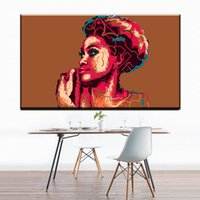 Wholesale Lady Abstract Oil Painting - ZZ704 simple abstract canvas art beautiful african women lady canvas pictures oil art painting for livingroom bedroom decor art