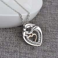 Wholesale Design Diamond Pendants - 2016 New Mother's Day Jewelry Alloy with Diamond Double Heart Pendant Necklace Creative Design Plated Silver Necklace Mom Exclusive Gifts