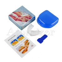 Wholesale Anti Snoring Mouthpieces Wholesale - Stop Snoring Solution Anti sonre Mouthpiece Soft Silicone ABS Good Night Sleeping Apnea Guard Bruxism Tray Snoring Cessation