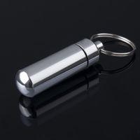 Wholesale Silver Keychain Pill Holder - key holder Aluminum Waterproof Pill Shaped Box Bottle Holder Container Keychain medicine Keyring keychain box