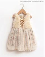 детские зимние бутики одежды оптовых-Baby Girls от 1 до 7 лет зимние цветочные тюль платья, детская кружевная одежда, розничный магазин детской одежды осень / весна, R1ES12DS-86