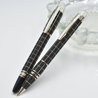 Wholesale Hot Ink Roller - hot sell Silver black checker metal ballpoint pen   Roller ball pen   Fountain pen with five star office stationery luxury Writing ink pens