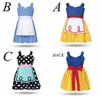 Wholesale snow white cartoon girls - Girl Alice dress Baby summer Lovely cotton Cloth Cartoon Snow white polka Dot Princess dress up Kids costume