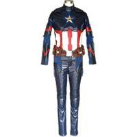 Wholesale Halloween Captain Uniform - Plus Size Custom Captain America 3 Civil War Costume Adult Superhero Cosplay Suit Halloween Men Steve Rogers Battle Uniform