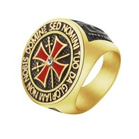 Wholesale Band Sword - Wholesale 10Pcs lot 2017 New Arrival Fashion Red Color Cross & Double Sword Round Top Signet Engraved Latin Letter Templar Glory Mens Rings