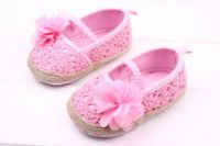 Wholesale Knitted Baby Shoe Flower - 2015 Sweet Cute Lovely Princess Girls Mary Jane Big Flower Knitting Soft Soled Prewalker Shoes Infant Toddler Newborn Baby Shoes